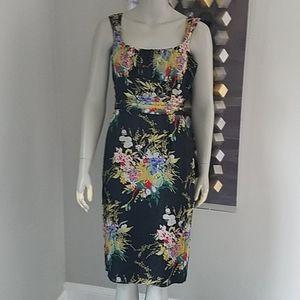 David Meister Silk Floral Dress Ruched Waist Sz10